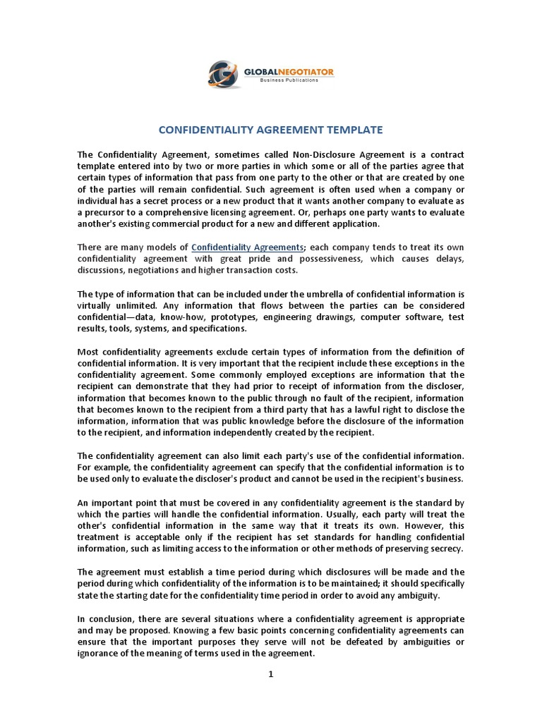 Confidentiality Agreement Non Disclosure Agreement Confidentiality