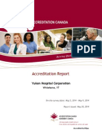 Rapport d'accrétidation de la Régie des hôpitaux du Yukon 2014 préparé par Agrément Canada (en anglais)