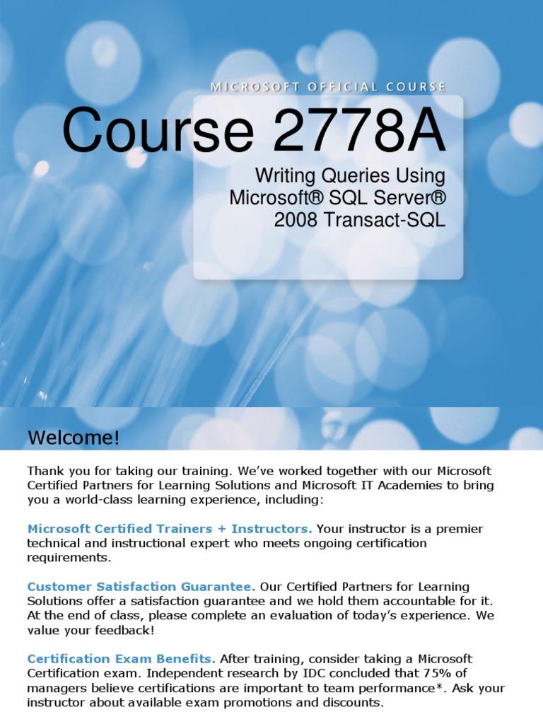 2778a00 Microsoft Sql Server Databases