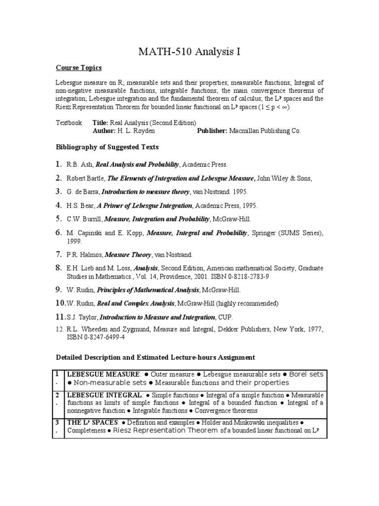 official_course_description | Lebesgue Integration | Real Analysis