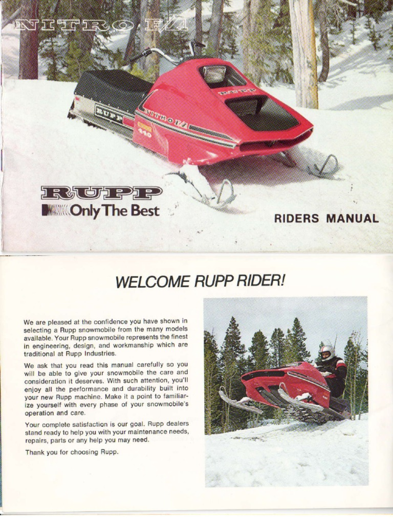 1975 Rupp Fa Nitro Owners Manual