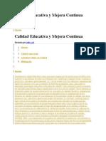 Calidad Educativa y Mejora Continua