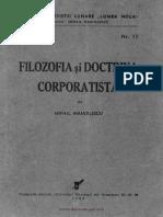 Filozofia Si Doctrina Corporatista Manoilescu 1924