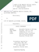 ACLU v. City of Sarasota - Transcript June 12 2014