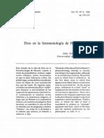 Dios en La Fenomenología de Husserl