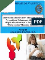 """Intervención Educativa Sobre Educación Sexual y Prevención de Embarazo en Adolescentes Dirigida a Los Alumnos de La Escuela Básica """"María Montes"""" Municipio Barahona"""