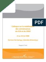Colloque sur la mobilisation des connaissances du CCA et du CRSH