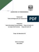 Práctica 12 Laboratorio de Termodinámica