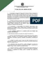 Resolução ARPE Nº 001 de 2002