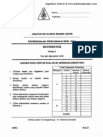 Soalan Matematik Kertas 2 Percubaan SPM Johor 2011