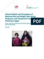 Cultural Beliefs and Perceptions of Maternal Diet and Weight Gain during Pregnancy and Postpartum Family Planning in Egypt