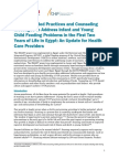 Recommended Practices and Counseling Messages to Address Infant and Young Child Feeding Problems in the First Two Years of Life in Egypt