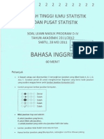 Soal USM STIS 2011_2012 Bahasa Inggris