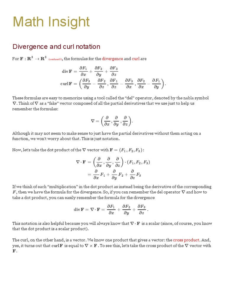 Divergence And Curl Notation Math Insight Divergence