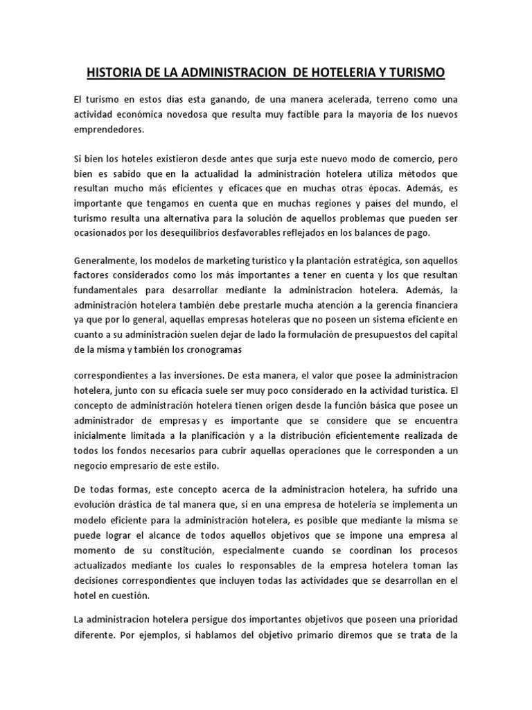 Marco Teorico Hoteleria y Turismo