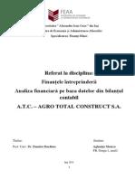 Analiza financiară pe baza datelor din bilanţul contabil A.T.C. – AGRO TOTAL CONSTRUCT S.A.