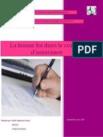 Exposé La Bonne Foi Dans Le Contrat d'Assuranec Mr TAZI