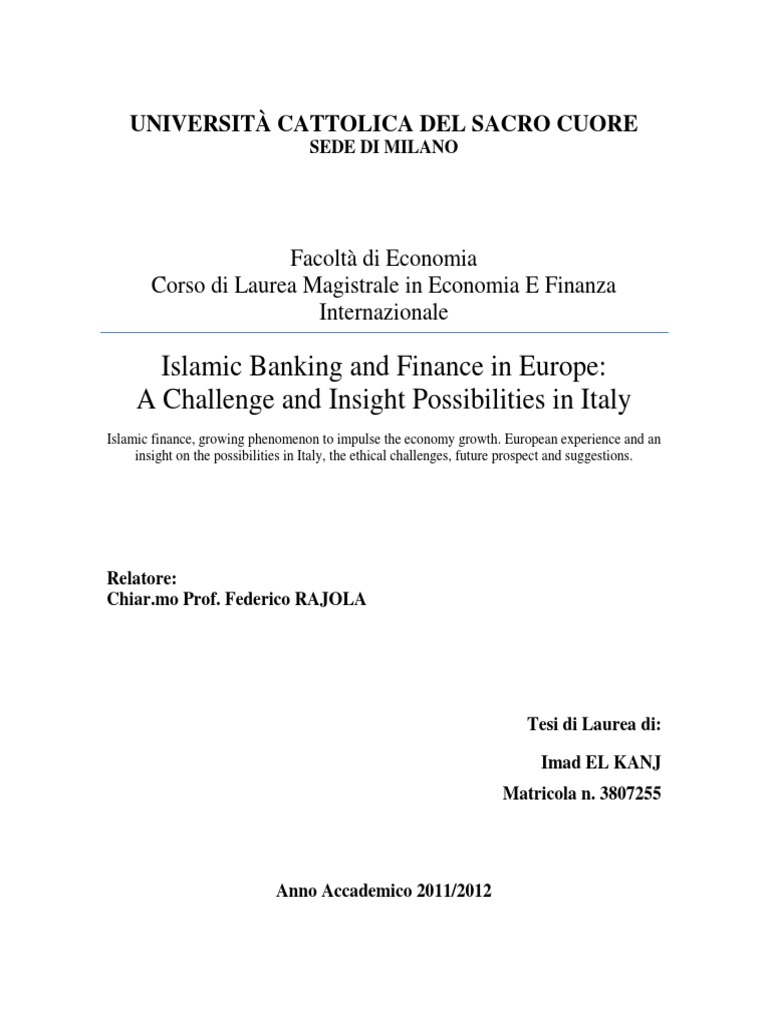 9fdb93e542 Islamic Banking and Finance in Europe