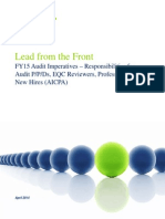 04 Lead From the Front - FY15 Audit Imperatives (AICPA) - Responsibilities for PPDs, EQCRs, Professionals and New Hires