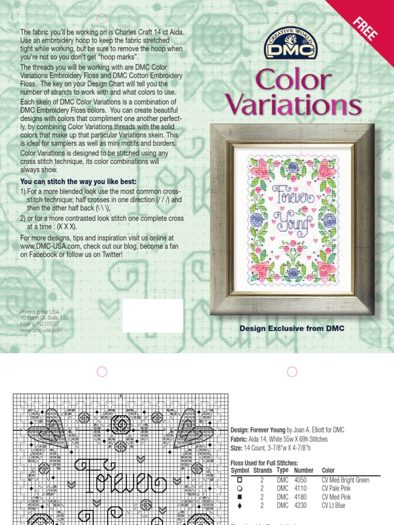 Color Variations Forever Young Project Sheet | Embroidery | Needlework