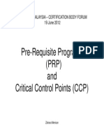 Pre-Requisite Programs (PRP) & Critical Control Points (CCP)