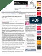 Carta de Anna Melnikova a la Comunidad Educativa - Doce Notas
