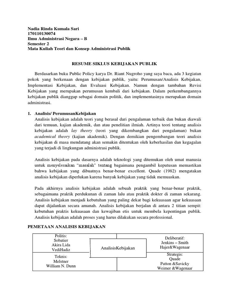 Tkap Resume Siklus Kebijakan Publik Dr Buku Public Policy Dr Riant Nugroho  C B Unsur Unsur Administrasi Perkantoran
