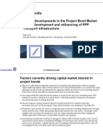 Recent developments in the Project Bond Market for the development and refinancing of PPP Transport infrastructure