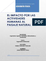 El Impacto Por Las Actividades Humanas Al Paisaje Natural