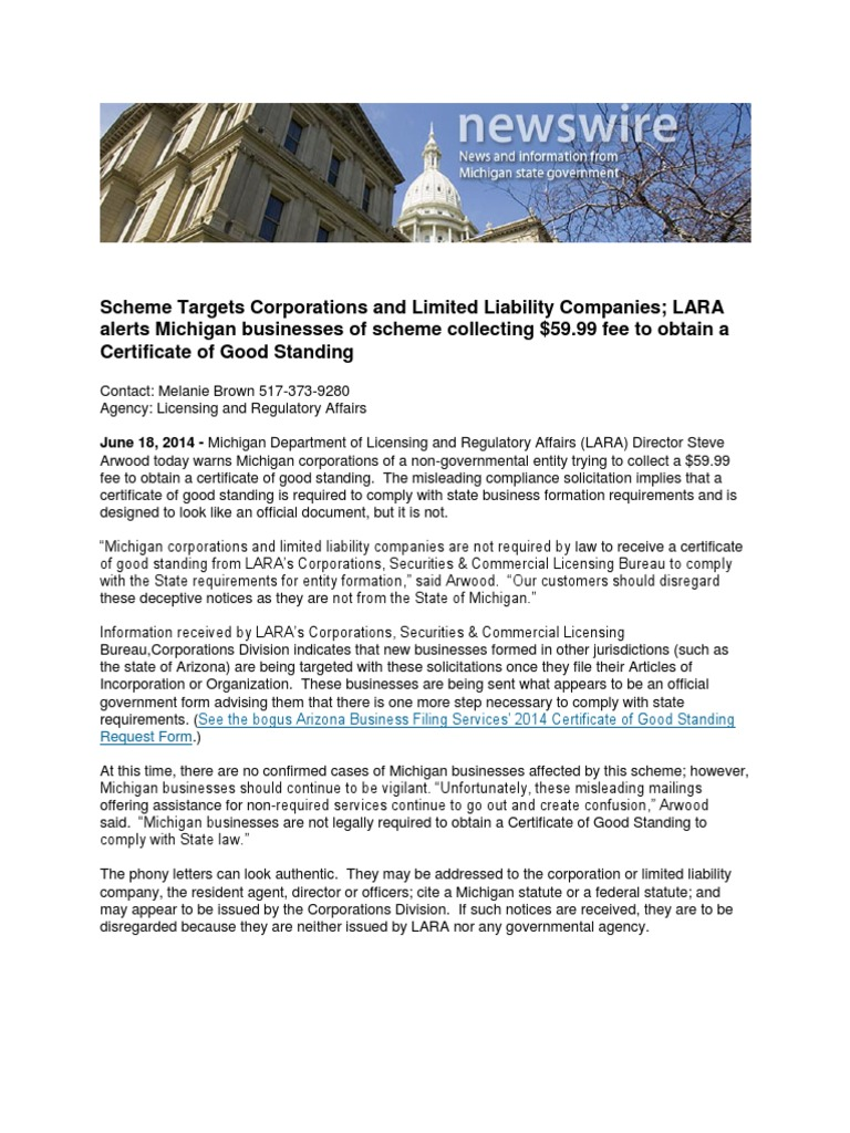 scheme targets corporations and limited liability companies lara alerts michigan businesses of scheme collecting 5999 fee to obtain a certificate of good
