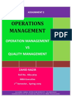 Semester 2 Assgn 2 Opeartion Mng. vs Quality Management