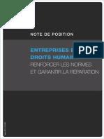 Entreprises et Droits Humains:Renforcer les Normes et Garantir la Réparation