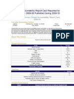 School Accountability Report Card Reported for School Year 2008-09 Published