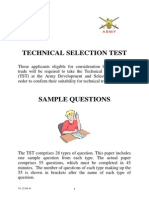 UK ARMY technical selection tests