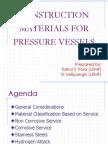 Construction Materials for Pressure Vesel