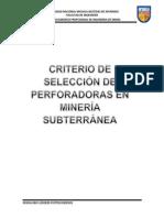 MONOGRAFIACriterios de Selección de Perforadoras en Minería Subterranea
