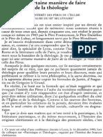 Claude Dagens (Mgr), Une Certaine Manière de Faire de La Théologie. de l'Intérêt Des Pères de l'Église à l'Aube Du IIIe Millénaire. NRT 117-1 (1995) p.65-83