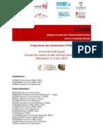 Atelier de Formation Doctorale Marrakech Juin 2014