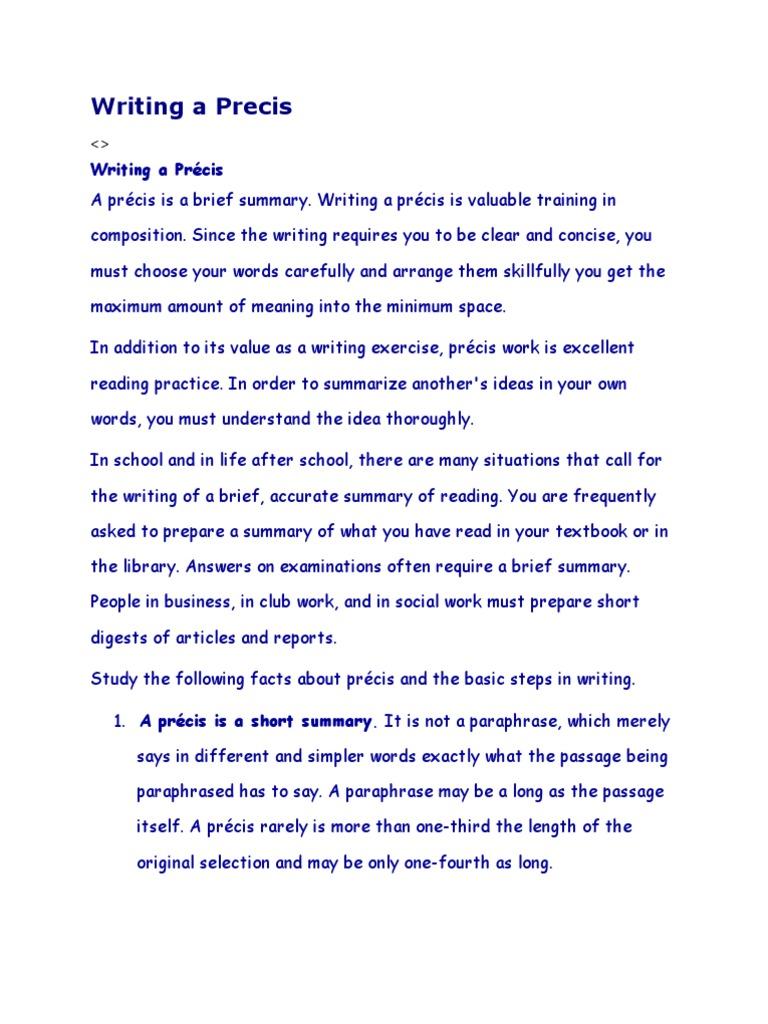 Precis Writing Rules 2 | Word | Sentence (Linguistics)