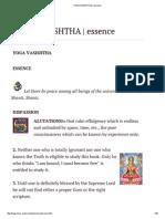 Yoga Vasishtha_ Essence