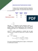 Ejemplos de Aplicaciones de Las Transformaciones Lineales