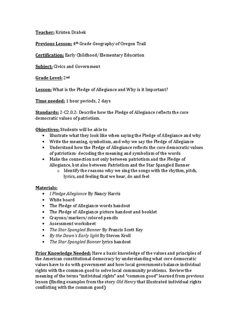 worksheet Oregon Trail Worksheets civics lesson plan pledge of allegiance cognitive science