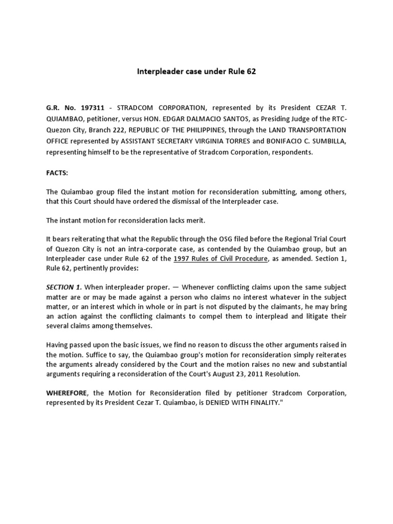 interpleader settlement agreement template life insurance  Interpleader Case Under Rule 62   Security Interest   Lawsuit
