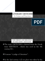 Nature and Functions of Literary Criticism
