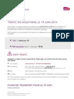 Trafic AQUITAINE de la journée du 19 juin 2014