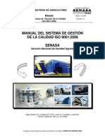 Manual Del Sistema de Gestion de La Calidad ISO 9001 2008 Del SENASA Revision 01