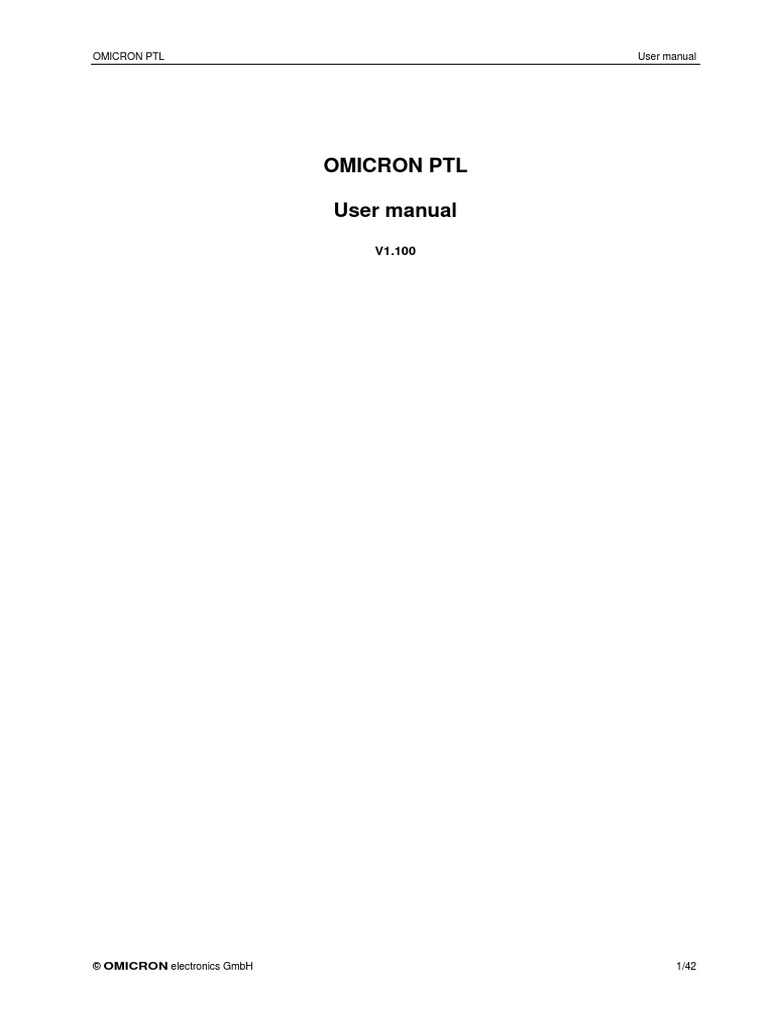 omicron ptl user manual enu relay timer rh scribd com Instruction Manual Auto Manual