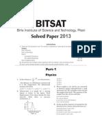 BITSAT 2013 Paper - Solved by Arihant