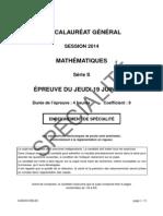 Mathématiques Série S Spécialité