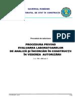 PA-003 - Procedura Privind Evaluarea Laboratoarelor de Analize Si Incercari in Constructii in Vederea Autorizarii